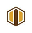 hexagon arrow business logo vector image