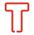 letter t plastic tube icon cartoon style vector image