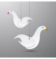 Paper Birds Hang on Rope vector image
