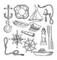 set of images on the sea theme vector image