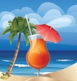 Tropic exotic cocktail on ocean beach vector image