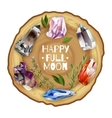 Crystals and stones full moon altar vector image