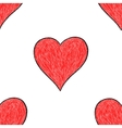Seamless pattern with red heart sign vector image