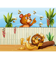 A lion a bear and bees vector image vector image