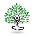 Yoga Easy Pose Tree Logo Design element vector image