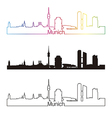 Munich skyline linear style with rainbow vector image