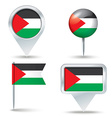 Map pins with flag of West Bank vector image