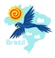 Stylized map of Brazil with sun and macaw parrot vector image