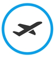 Airplane Takeoff Circled Icon vector image