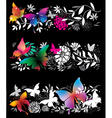 banners with butterflies and flowers vector image vector image