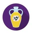 Bottle of olive oil icon in flat style isolated on vector image