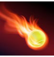Burning tennis ball vector image