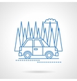 Car in forest travel flat line icon vector image