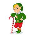 cartoon cute christmas elf with lollipop vector image