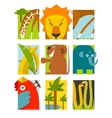 Flat African Animals Symbols Set vector image