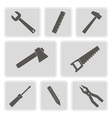 monochrome icons with building tools vector image