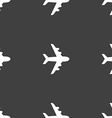 Plane icon sign Seamless pattern on a gray vector image