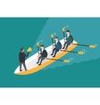 Businessman rowing team Teamwork concept vector image