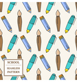 Seamless School or Office Supplies Pattern Thin li vector image