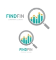 logo combination of a graph and magnifier vector image