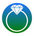 diamond sign white icon in vector image