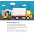 poster warehouse and transportation services vector image