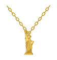 Statue of Liberty necklace gold Decoration on vector image