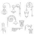 retro and modern street lanterns vector image