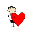 Cute girl with valentine heart place for your text vector image vector image