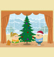 Children decorating christmas fir tree vector image
