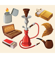 Set of traditional smoking devices vector image vector image