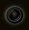 modern camera icon with orange rays on dark vector image vector image