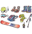 Backcountry Freeride Stuff for the Snowboarders vector image