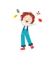 girl throws autumn leaves up isolated vector image