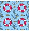 Seamless pattern with lifebuoys and anchors vector image