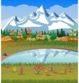 Autumn nature landscape forest mountains lake vector image