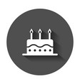 birthday cake with candle flat icon fresh pie vector image