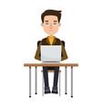 cartoon young man working laptop sitting image vector image