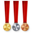 champion medals blank set metal realistic vector image