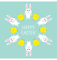 Cute bunny rabbit and chicken frame Happy Easter vector image