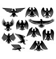 eagle heraldic icons or emblems set vector image