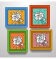 Frames with comic book explosion on pictures vector image