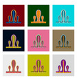 icons set in flat style intestinal villi vector image