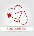 Love for Canada card with maple leaf and red heart vector image