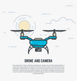 quadcopter line vector image