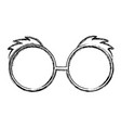 sketch draw glasses cartoon vector image