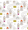 Outline village seamless pattern vector image