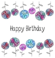 frame card with pink blue flowers of vector image