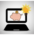 Laptop piggy money bulb light vector image