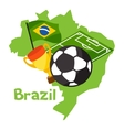 Stylized map of Brazil with soccer ball and flag vector image
